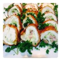Mashed Sweet Potato and Cordon Bleu with Zucchini Filling